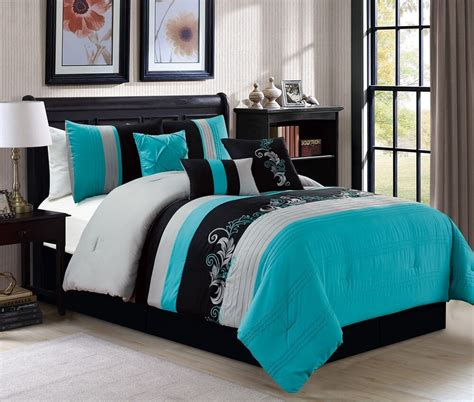 Teal Bedding by 7pc Luxury Floral Leaves Scroll Embroidery Teal Gray Black