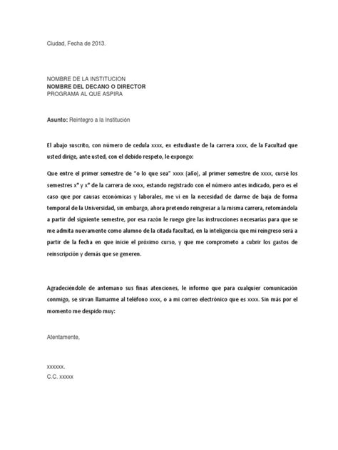 carta para transferencia de universidad carta de reingreso a la universidad