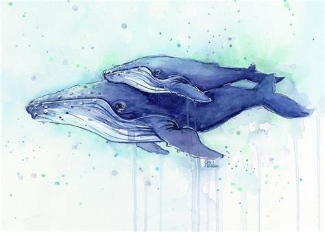 Boat Decor For Home by Humpback Whale Mom And Baby Watercolor Painting By Olga