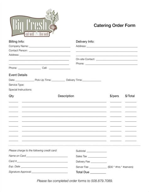 Catering Order Form Template Excel