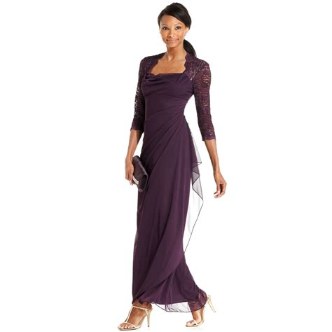 Sequin Sleeve Avail In 3 Colours Place 08 xscape xscape dress threequartersleeve sequin lace draped gown in purple lyst