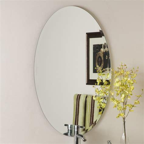 decor wonderland ssm10060b large bathroom mirror lowe s canada shop decor wonderland helmer 24 in x 36 in oval frameless