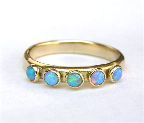 opal ring 14k gold ring and opal stones made to