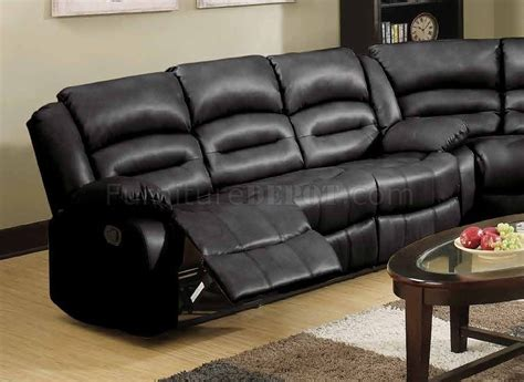 Bonded Leather Recliner Sofa 9171 9241 Reclining Sectional Sofa In Black Bonded Leather