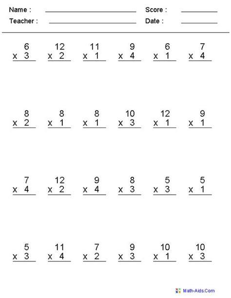 Multiplication Timed Test Printable 0 12