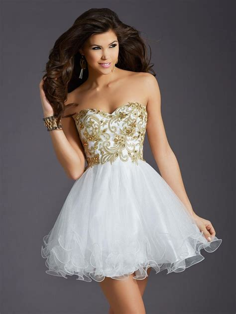 La 16 Gold 2015 clarisse homecoming dresses gown gold appliques white tulle sweet 16 dresses