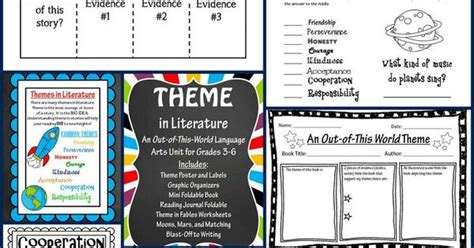 themes in literature games theme in literature theme match foldables writing