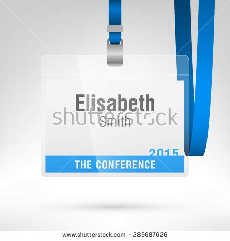 Conference Badge Name Tag Placeholder Blank Stock Vector Royalty Free 285687626 Shutterstock Conference Name Tag Template