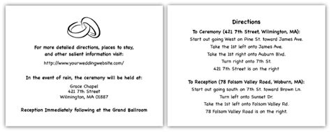 free direction cards for wedding invitations template wedding direction card wording simple wedding invites