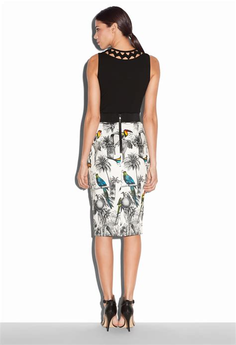 milly tropical toile midi pencil skirt lyst
