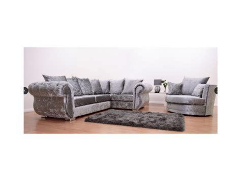Silver Corner Sofa by Crushed Velvet Silver Corner Sofa And Swivel