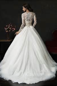 romantic ball gown v neck tulle lace long sleeve wedding