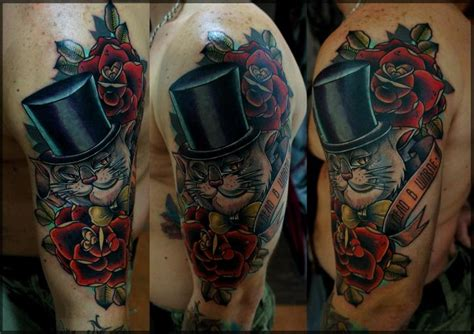 tattoo old school gato tatouage old school fleur chat par pavel roch