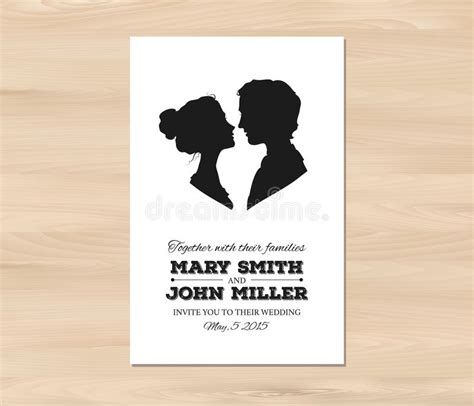 how to create wedding card template for silhouette vector wedding invitation with profile silhouettes stock