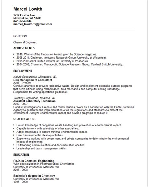 Resume Format For Chemical Engineer by Chemical Engineer Resume Exle Free Templates Collection