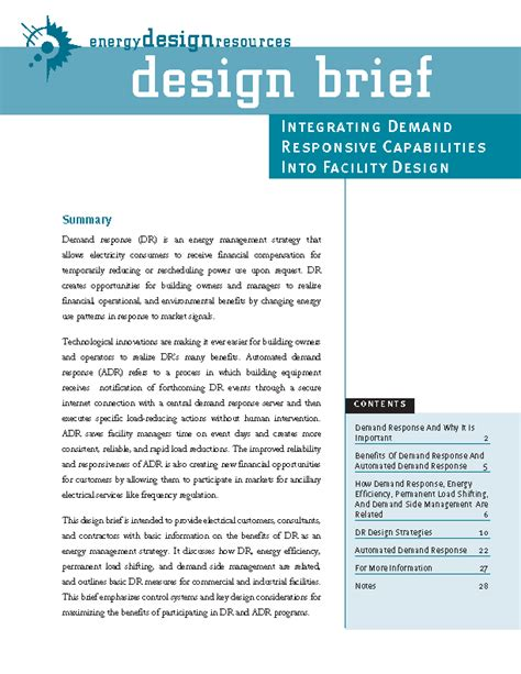 design brief for technology energy design resources demand response page