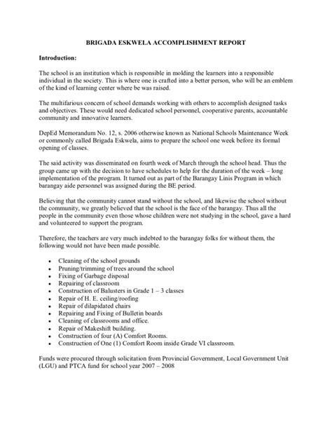 Annual Report Opening Letter Brigada Eskwela Accomplishment Report