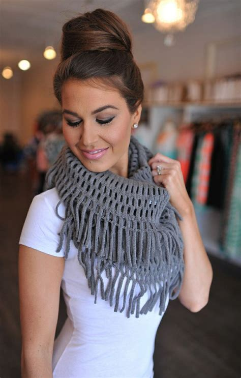 Jellow Grey By Glz Blouse Celana Pasmina cowl neck fringe scarf ideas get warmth looks to hack them designers collection