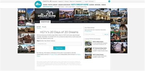 Hg Dream Home Giveaway - hgtv com hgtvdreamhome20 hgtv s 20 days of 20 dreams sweepstakes