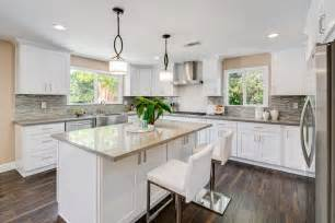 Contemporary kitchen with u shaped amp kitchen island in pasadena ca