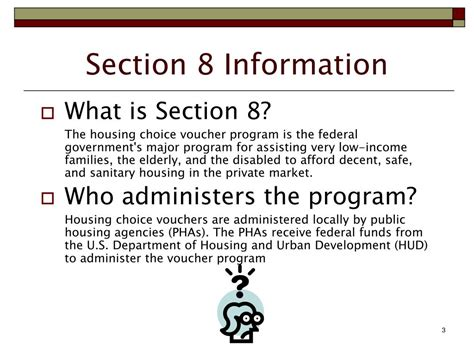 Information About Section 8 ppt section 8 housing choice voucher program landlord workshop powerpoint presentation id 234117