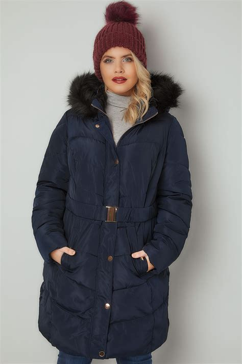 Quilted Faux Fur Trim Puffer by Navy Quilted Puffer Coat With Black Faux Fur Trim