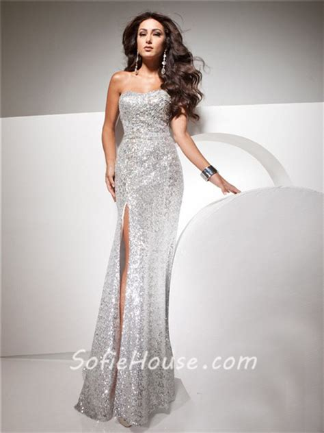 sheath strapless silver sequins glitter evening prom dress with beading