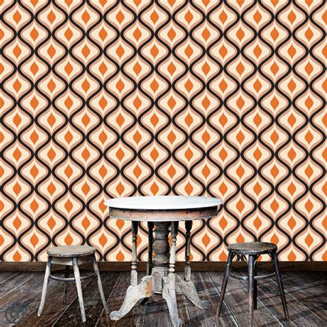 wallskin removable wallpaper vintage dots peel stick self adhesive fabric temporary removable wallpaper retro groovy peel by accentwallcustoms