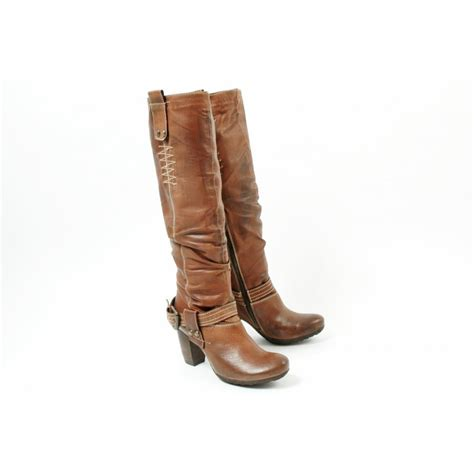 manas design roma brown leather high heel boots