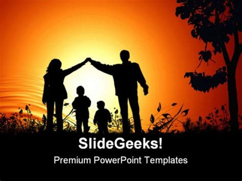 Golden Sunset Family Powerpoint Background And Template 1210 Powerpoint Templates Family