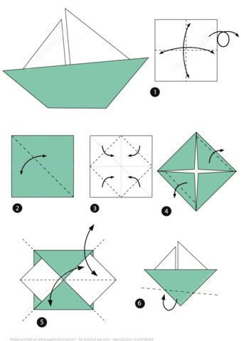 Paper Folding Ship - origami boat free printable