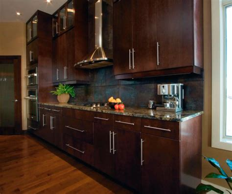 Kitchen Cabinet Door Glass Inserts by Modern Kitchen Cabinets In Espresso Finish Kitchen Craft