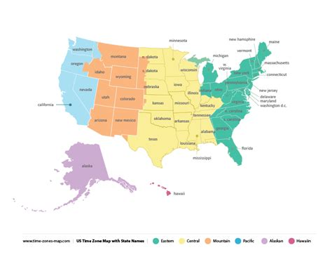 printable united states map with time zones and state names timezone map us my blog