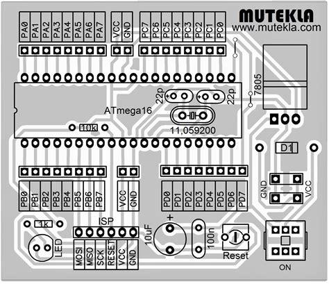 software desain layout pcb desain minimum sistem microcontroller atmega 16 ala