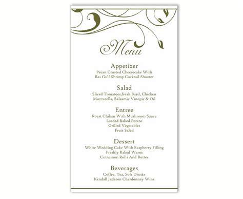 Menu Card Template Microsoft by Wedding Menu Template Diy Menu Card Template Editable Text