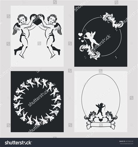 designing silhouettes of angels demo set silhouette frames angels design element stock vector