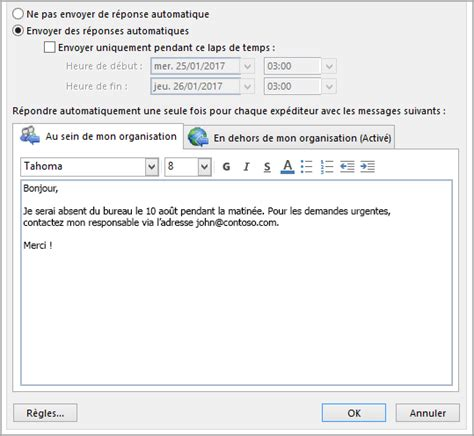 outlook message absence bureau 28 images fonctionnalit