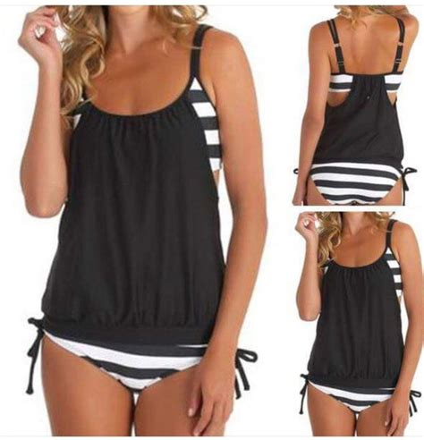 L 845 Black Top Bottom Costume swimwear black and white tankini stripes bathing suits tops bottoms fashion bathing