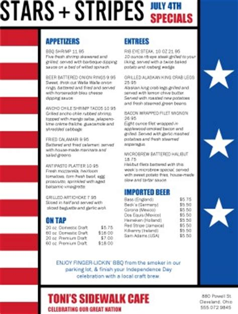 4th of july menu template and stripes 4th of july menu 4th of july menus
