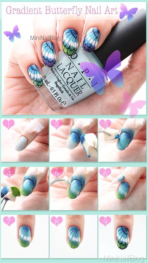 nail art tutorial butterfly gradient butterfly nail art tutorial https nailbees com