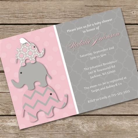 printable elephant invitations pink elephant baby shower invitation diy printable