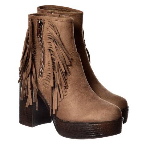 onlineshoe tassel and fringe suede high block heel ankle