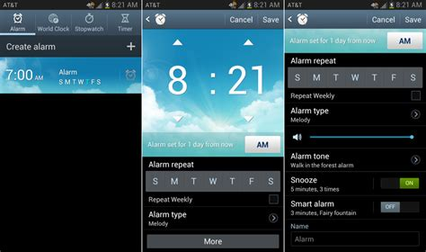 set  alarm   android phone beginners