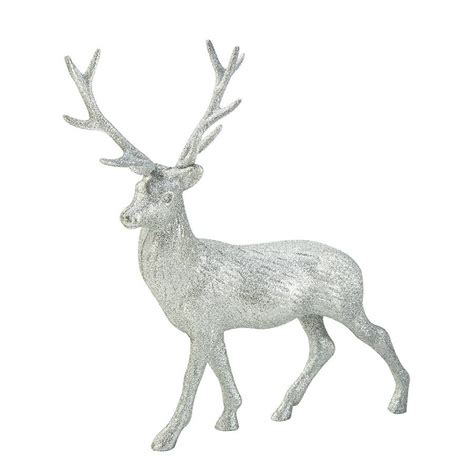 christmas silver glitter stag decorations by postbox party