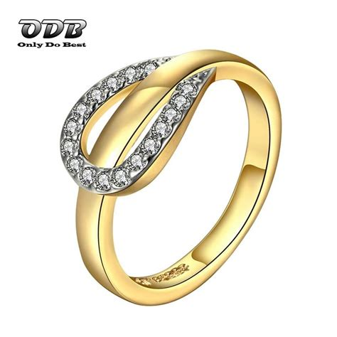 ring aaa zircon 18k 24k real yellow gold
