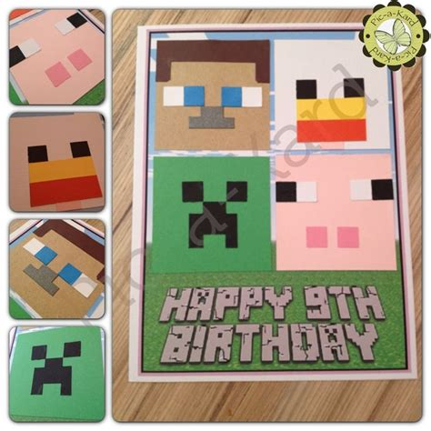 printable minecraft greeting cards minecraft birthday card cake ideas and designs