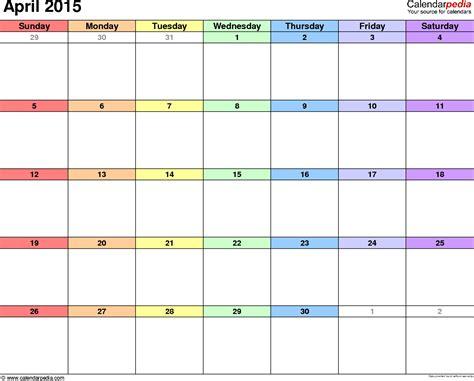 printable monthly calendar april 2015 april 2015 calendars for word excel pdf