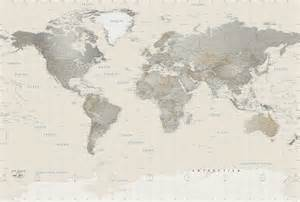 Wall Map Murals Neutral Tones World Political Map Mural