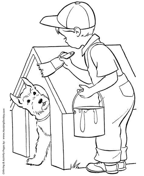 Dog Coloring Pages Printable Doghouse Painting Coloring Page Sheet And Kids Activity Page Painting Pages To Print