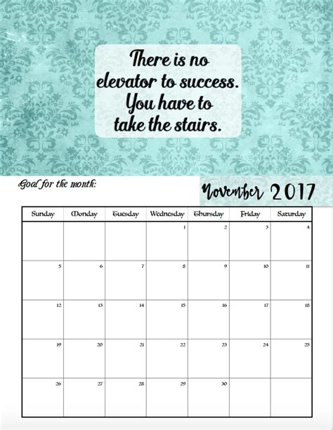 printable monthly calendar inspirational quotes free printable 2017 motivational monthly calendar